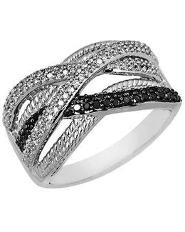Black And White Diamond Ring In Sterling Silver 0.38 Ct. T.w.