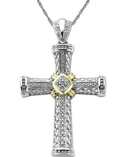 Diamond Accented Cross In Sterling Silver With 14k Yellow Gold .06 Tcw