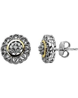 Diamond Accented Earrings In Sterling Silver With 14k Yellow Gold 0.13 Ct. T.w.