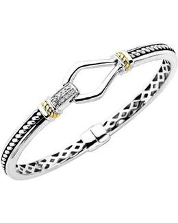 Sterling Silver With 14kt. Yellow Gold Diamond Bracelet
