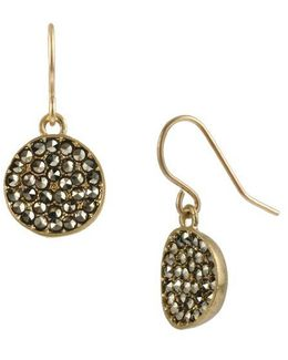 Pave Circle Drop Earrings