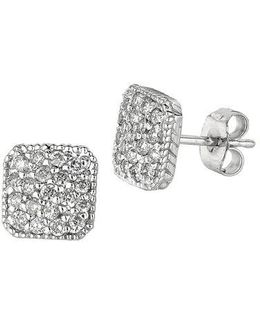 0.50 Ct Tw Diamond Square Stud Earrings In 14 Kt White Gold