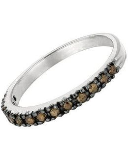 Brown Diamond Ring In 14 Kt. White Gold Band