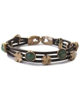 Jade And Leather Bracelet