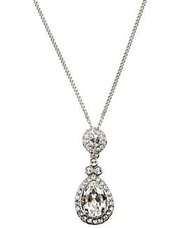 Necklace, Silver-tone Swarovski Element Teardrop Pendant Necklace