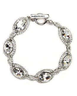 Silver-tone Crystal Toggle Bracelet