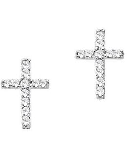 Diamond Accented Cross Earrings In 14 Kt White Gold