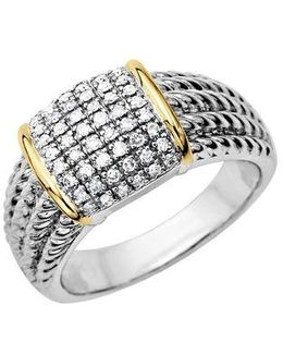 Diamond Accented Ring In Sterling Silver With 14 Kt. Yellow Gold