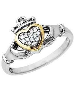 Diamond Accented Claddagh Ring In Sterling Silver With 14k Yellow Gold