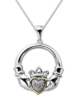 Diamond Accented Claddagh Pendant In Sterling Silver With 14k Yellow Gold
