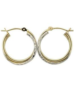14k White And Yellow Double Hoops