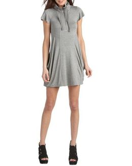 Quarter Zip Flutter Sleeved Dress