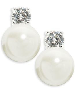 Faux Pearl And Cubic Zirconia Clip-on Stud Earrings