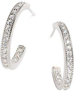 Sterling Silver Pave Hoop Earrings