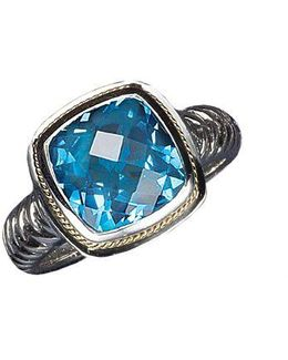 Balissima Sterling Silver And 18 Kt. Yellow Gold Blue Topaz Ring