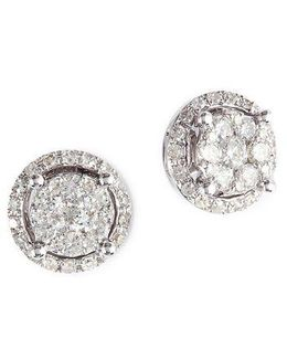 Diamond And 14k White Gold Stud Earrings, 0.49tcw
