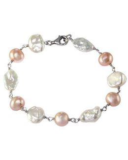 Multi-color Pearl And Sterling Silver Bracelet