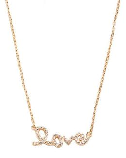 Pave Love Script Necklace