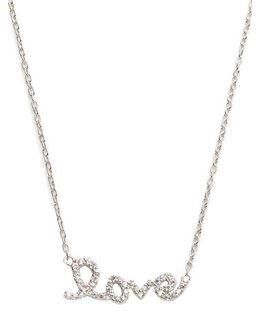 Pave Love Script Necklace