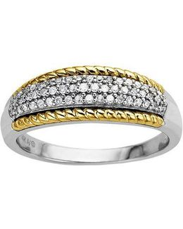 Sterling Silver With 14kt. Yellow Gold Diamond Ring