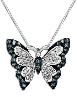 Green Diamond, Diamond And Sterling Silver Butterfly Pendant Necklace