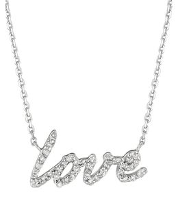 Diamond And 14k White Gold Love Necklace