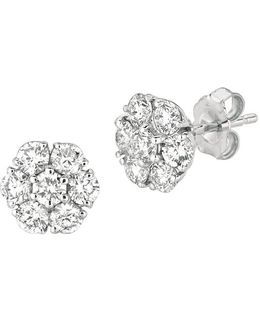 Diamond And 14k White Gold Flower Stud Earrings, 3tcw