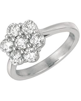 Diamond And 14k White Gold Flower Ring, 1.75tcw