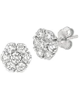 14kt White Gold And 1.52 Ct T W Diamond Flower Earrings