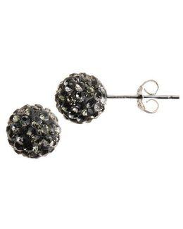 Sterling Silver Crystal-encrusted Ball Stud Earrings