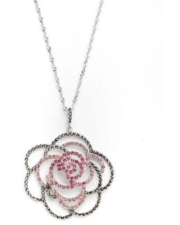 Pave Flower Pendant Necklace