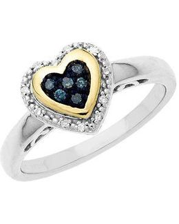 Sterling Silver With 14kt. Yellow Gold Green Blue Diamond Heart Ring