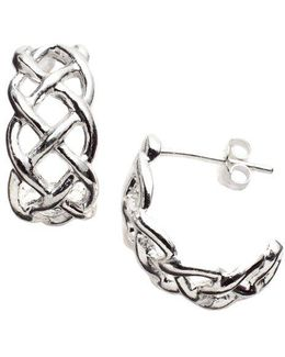 Sterling Silver Open-weave Cuff Earrings