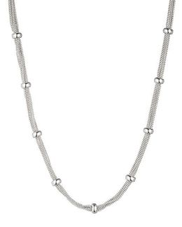 Silvertone Chain And Stone Accented Necklace