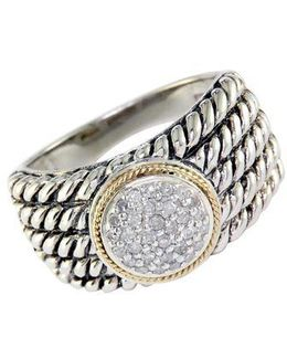 Balissima Sterling Silver With 18kt. Yellow Gold Pave Circle Diamond Ring
