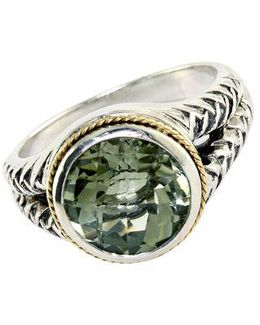 Balissima Sterling Silver And 18kt. Yellow Gold Green Amethyst Ring