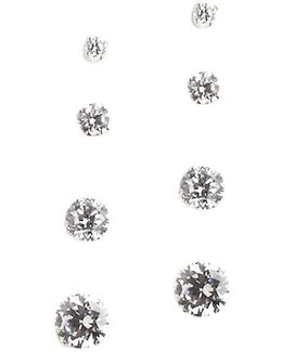 Sterling Silver And Cubic Zirconia Stud Earrings Set