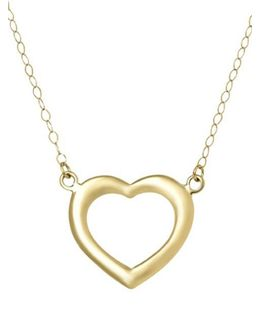 14 Kt. Yellow Gold Heart Silhouette Charm Necklace