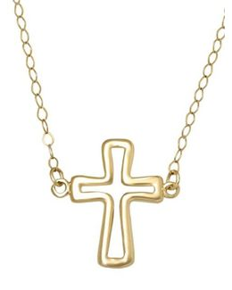 14 Kt. Yellow Gold Cross Silhouette Necklace