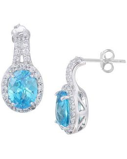 Sterling Silver And Aqua Cubic Zirconia Drop Earrings