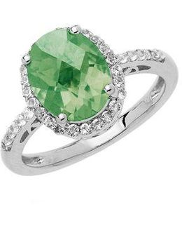 Sterling Silver Green Amethyst Ring With White Topaz Halo