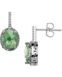 Sterling Silver Green Amethyst Drop Earrings With White Topaz Halo