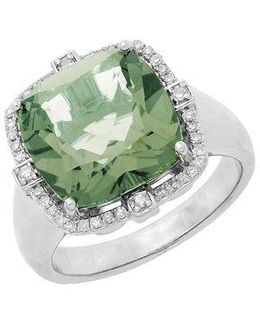 Sterling Silver Green Amethyst And Diamond Ring