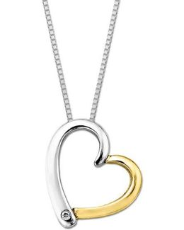 Sterling Silver And 14 Kt. Yellow Gold Diamond Heart Pendant