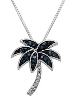 Sterling Silver Green And White Diamond Palm Tree Pendant Necklace