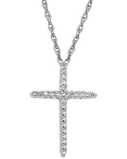 14kt. White Gold Diamond Cross Pendant Necklace