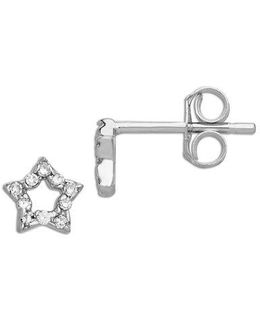 14 Kt White Gold And 0.06 Ct T W Diamond Star Earrings