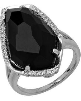 Sterling Silver Black Onyx Ring With Diamond Accents