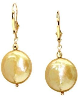 14kt. Yellow Gold Freshwater Pearl Coin Earrings