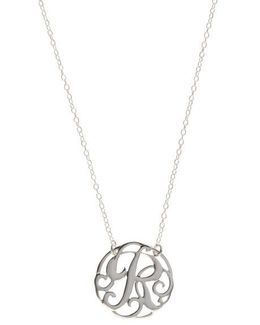 Sterling Silver R Initial Pendant Necklace